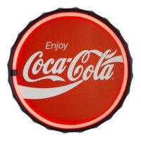 The vintage look of this Coca-Cola LED Marquee Sign brings the nostalgic charm of a 1920s soda shop into the modern era with LED technology. This dynamic signage showcases the iconic Coke logo outlined with a stylish red LED border that really allows the sign to pop. Using LED technology, this sign is made to look like neon but without the hassle, cost, or loud hum of real neon. Ideal for a diner, kitchen, dining room, home bar or man cave, this classic piece of American culture is suitable for...
