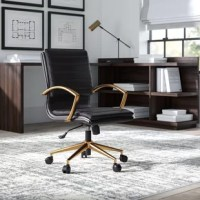 Whether used in the home office or workplace cubicle, this office chair is a must-have for anyone who works long hours from a sitting position. Offering a touch of contemporary style to your abode, it features a gold base with dual-wheel casters for easy transport, and rounded arms in a matching finish. The seat is upholstered with faux leather and is ergonomically-shaped to provide lumbar support. Includes a pneumatic lever for adjusting the height.