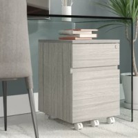 Crafted of compressed wood in a stylish gray woodgrain finish, this two-drawer vertical filing cabinet strikes a clean-lined rectangular silhouette measuring 23