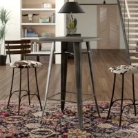 Perfect for creating a dine-and-dash nook or adding a touch of surface area to your entertaining ensemble, a pub table like this one is a versatile touch wherever it's needed. Crafted from steel in a powder-coated gunmetal finish, this table features tapered legs and a clean-lined surface for on-trend modern style. An X-shaped support and footrest round this piece out with other slim accents for an industrial look. Capable of seating up to two people, this 41.5'' H x 24'' L x 24'' W piece is a...