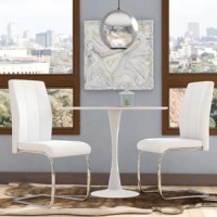 Whether pulled up to your dining table or added to your arsenal of accent chairs, this two-chair set will liven up your decor. Upholstered in foam-filled faux leather, these seats offer an approachable aesthetic, as well as on-trend stitched detailing. Awash in a chrome finish, a C-shaped base gives your space an ultra-contemporary feel, while also adding a subtle shine. After assembly, these chairs are designed to support up to 250 lbs.