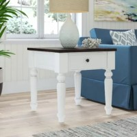 Whether flanking the sofa or situated alone near a reading chair, this end table is the quintessential living room companion. Crafted from sold pine wood, it showcases a silhouette perfect for traditional and coastal homes thanks to its molded sides and tapered legs. A white base paired with a dark, rustically planked top seals the deal. Best of all, it features a side-mounted charging station perfect for your electronic devices. Measures 24'' H x 24'' W x 24'' D.