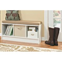 Lend a low-key touch to your entryway or den with this understated Cubeicals Shoe Storage Bench. Featuring a clean-lined, laminated wood frame with three open compartments, this storage bench makes it easy to keep sneakers and flats organized in the mudroom, while its included seat cushion gives guests a place to sit as they tie up their laces. The open compartments also make great storage solutions in the living room or office—the possibilities are endless.