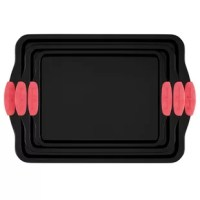 The 3 Piece Non-Stick Baking Pan Set by Classic Cuisine is a kitchen necessity for every home baker! With a large pan, jelly roll pan, and quarter sheet, you will have the right sized pan for every recipe. The silicone handles provide a safe and secure grip when pulling the hot pans from the oven, while the nonstick surface ensures that none of your delicious treats will get stuck to the pan. This well-crafted and durable baking pans also feature folded edges to help prevent warping. This...
