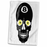 Eight Ball Skull Skeleton Head Pool Billiards Sports Design Hand Towel is great to use in the kitchen, bathroom or gym. This hand sports towel allows you to customize your room with a special design or color. Great for drying dishes, hands, and faces. Suitable to put in any sports bag. The image will not fade after washing. Machine wash, tumble dry low, do not bleach. The towel will regain its fullness after the first washing.