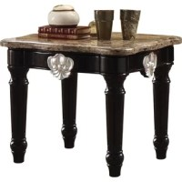 Dramatically revamp your home interior with this traditionally styled end table, made up of using quality wood and marble. It is square in shape and has silver contrast carved motif turned legs providing a beautiful vintage look. Featuring complete black shiny finish along with marble top, this end table is an incredible inclusion to add the at-home setting. The flat tabletop can be used to serve its purpose to the most. Does not include any featured product other than one end table.
