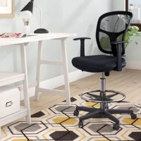 Add a refined touch to your writing desk with this chair, featuring a foot rest and swivel design. Mesh details and a clean-lined silhouette give a mod touch of style fit for any work space.