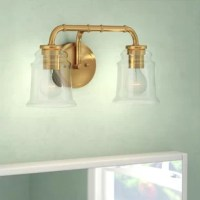 Notes of industrial and farmhouse traditions are defined by the sheen of natural brass; matte black or satin nickel and elegance of clear blown glass. Combine that with a vintage Edison style filament bulb to complete the look. The versatile reversible mounting option lets you install this fixture up or down. This bathroom light is perfect over small vanities or as a pair over double sinks.
