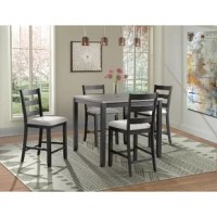 This 5 piece counter height dining set is the perfect addition to your home. This set includes a table and four side chairs. The rectangle table design will make it an easy fit in your home. The chairs feature a ladder back design and an upholstered seat. The wire brush finish on the table base and chairs are truly unique, adding instant flair to this set. The table tops contrast well with the table bases and will give the updated look your dining room has been craving.