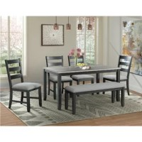 Deck out your dining room in approachable, contemporary style with this six-piece dining set, complete with one rectangular table, four ladder-back chairs, and a backless bench to offer seating for six. Crafted from manufactured wood, plywood, and acacia wood with veneers, each piece sports a versatile black finish that's understated enough to complement any color palette. Foam padding and gray polyester upholstery cushion the seats for an inviting look, while the rectangular tabletop is...
