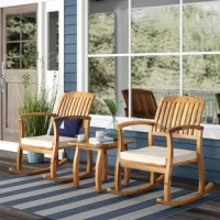 Enjoy the outdoors with this rustic set of two rocking chairs and one side table. The Coyne rocking set will be the perfect piece for your patio, backyard, porch, or deck. Replace and stay comfortable with the polyester seat cushion as you rock back and forth to the wind or to your own beat.