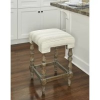 Add traditional, French country-inspired style to your kitchen or counter-height table with this Federigo Bar & Counter Stool. This eye-catching geometric shaped seat is wrapped in 100% linen upholstery, which showcases a gray striped design. Underneath, four turned washed brown wooden legs add a rustic touch, and a footrest keeps you comfortable. This design's neutral color scape allows the stool to easily transition into a variety of decor schemes, and its backless design is easy to slide...