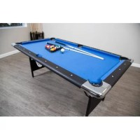 The unique Fairmont 6.3' Pool Table was specifically designed for smaller spaces and portability. However, don't let its size fool you, it's packed with many quality features found on much larger, more expensive tables. This table features wide top rails wrapped in a durable black melamine, fast action cushions and a