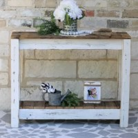 Built from reclaimed wood with weathered detailing, this console table is a perfect pick for rustic and modern-farmhouse-inspired spaces. Made in the USA, it's crafted from both solid and manufactured wood, displaying an open lower shelf with planked details. A contrasting white and natural wood grain finish completes the look. Measuring 28'' H x 36'' L x 10'' D, this design offers you plenty of space to craft a decorative display, organize your favorite books, and keep storage boxes in order.