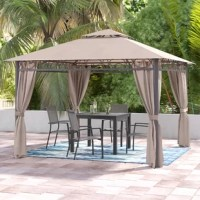 Create your own shaded oasis with this square gazebo. Featuring a double-vented design for increased airflow to keep you comfortably cool, this square gazebo is built with durable steel poles and aluminum ribbing for strength and stability.