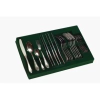 Palace 24 Piece Flatware Set, Service for 6. The pieces include tablespoons, teaspoons, forks, and knives. The luxury cutlery products feature beautiful ornamental patterns and are ergonomic. The design features the Aisi 430 steel that won't succumb to rust if it is exposed to water, and the products are dishwasher safe for added convenience. The handle style is considered royal elitism and offers the right pattern for daily use or even for occasion dinner parties. The image on the handles...