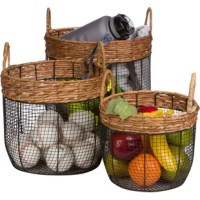 This product can be used for blankets as laundry baskets or for storing toys. Each basket has a banana leaf wrap around the top with 2 handles. The perfect organization solution for any home.