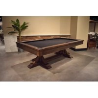 This Thomas 8' Slate Pool Table is a trendy modern rustic design perfect for any casual home setting where quality and style are appreciated. The solid douglas fir construction is finished in distressed burnished brown with unique restoration barn style touches throughout. The table features k66 gum rubber cushions, 1