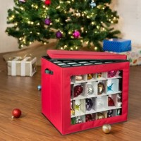 Alas, it's time to take down your Christmas tree and put all your ornaments away. Make it easy with this 120-Count Container Ornament Storage. It holds up to 120 normal-size ornaments in the box, or easily remove the dividers to fit larger or abnormally shaped tree trimmers. Durable enough for storage transport and convenient to carry, put a bow on this holiday season by making ornament organizing easy.