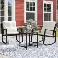Perfect for fostering laid-back conversation between two, this patio set includes everything you need to turn an outdoor space into a hub of relaxation! The pair of seats, crafted from metal, features curved silhouettes that allow you to rock to and fro, while cushions wrapped in polyester upholstery and woven wicker details complete the look. The streamlined table sports a glass top perfect for setting down sangria and trays of snacks.