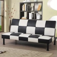 """What's a living room without a sofa? Incomplete, we'd say. Every hangout spot needs a place to lounge, and this sofa bed is here to help. Upholstered with faux leather, it boasts a bold checkered design, bringing a punch of personality to your ensemble. After assembly, it can seat three or be used as a twin bed, and hold up to 250 lbs. Plus, its 7.5"""" clearance makes it easy to sweep and vacuum underneath."""
