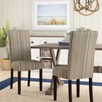 A classic silhouette gets a laidback facelift with this pleasant Vaughn Upholstered Dining Chair. Made from a mix of solid poplar and manufactured wood, this breezy design is upholstered in tonal-striped linen for beachy appeal and features espresso-finished legs with felt foot pads so it won't scratch up your floors. For a coastal-inspired ensemble in the eat-in kitchen, hang a rope-wrapped pendant light from the ceiling and roll out an awning-striped area rug on the floor below to define...