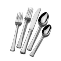 This flatware set features simple banding at the neck that accentuates a timeless silhouette, with a squared tip, and polished sheen. A classic design that can be used for all occasions, whether a formal affair, a weekend brunch, or a casual dinner with friends and family. It resists rust and stands up to years of use in your kitchen or dining room.