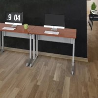 Create an efficient office space with this practical small desk, made with laminate and metal legs. Transform your office or workspace with this small desk that is as elegant as it is functional.