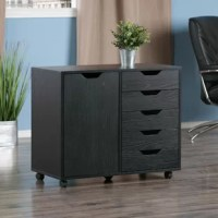 This 5 Drawer Vertical Filing Cabinet is the perfect organizational tool for your home office, craft corner, child's bedroom, or college dorm. Or use this collection to maximize your closet storage with an extra drawer and cabinet space. This unit features five gliding drawers and a 2-compartment cabinet, all of which are easily accessible with cut-out handles. Enjoy easy mobility on optional-use casters, or lock down the casters to keep the unit in place.