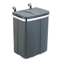 The compact and space-saving door-mounted waste bin from Wenko is an intelligent solution for all those who like to dispose of their waste underneath the sink, while saving space in the kitchen at the same time. But the sensational waste bin is not only ideal for disposing of rubbish, but also returnable bottles can be optimally stored there.In addition, the gray waste bin, made from high-quality plastic, has a large opening to ensure that nothing is thrown next to it. The clever lid protects...