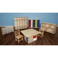 The 7 Piece classroom storage package set includes:1 Cubbie table with assorted trays, 2 Hardwood chairs, 1 Cubbie storage cabinet with 25 assorted trays, 1 See-All storage unit with 12 clear trays, 1 Section seat locker, 1 Tip-Me-Not single storage unit.