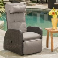 There's no reason classic recliner comfort has to be contained to the indoors: relax in style with this reclining outdoor lounger. Constructed of a rust-resistant aluminum frame and covered with resin wicker, this piece is features classic outdoor design with contemporary weather-resistant materials. The included button tufted 2'' cushions are removable and woven of a polyester blend for easy cleaning and care (although machine washing is not recommended). So go ahead, put your feet up and...