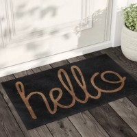 "Does your entryway look like its missing something? Try adding a new doormat to bring your front door area to life, and keep some of the dirt from coming in your home. This rectangular weather resistant doormat arrives in a solid black design, with a natural hued ""hello"" in a script, greeting you and your guests. It is made of natural coir fibers and can withstand high traffic use with its non-slip plastic backing keeping it in place."