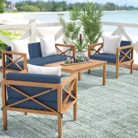 Blend up a batch of your famous strawberry margaritas, put on your favorite floppy hat, and kick back outdoors with this fantastic four-piece seating group. The perfect pick-me-up for your patio, this stylish set features a contemporary clean-lined frame crafted of eucalyptus wood for a look of beachy beauty. Each seat is elegantly accented by a crisp cushion, while a few throw pillows were thrown in add a little something playful. The coffee table in the center is equally ideal for lining up...