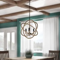 Bring a contemporary nautical touch to your dining room, den, or master suite with this globe chandelier. An iron skeleton wrapped with rope, this hanging luminary holds three incandescent lights with a maximum 60 W per bulb. Requiring hardwiring, the chain on this piece can also be adjusted to the right height for your space and can even be used on a sloped ceiling. We recommend dusting with a soft brush when needed.