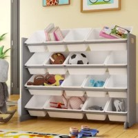 Teach your tot to tidy up with this toy organizer. Made from manufactured wood, this piece features four tiers of steel rods that support 16 plastic bins of different sizes so you can sort stuffed animals, books, and beyond. Thanks to its neutral white and gray hues, this design is versatile enough to blend with any existing arrangement. Assembly is required.