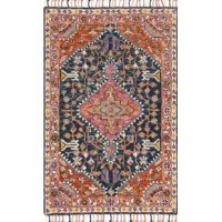 Who says artful appeal has to be limited to what's hanging on your walls? Whether rolled out in the living room or master suite, this eye-catching area rug acts as both a foundation and a focal point. Made in China, it is hand-hooked from 100% wool with a low 0.5'' pile height for easy cleaning. Plus, it's sure to stand out with a colorful Persian-inspired pattern accented by tassel trim.