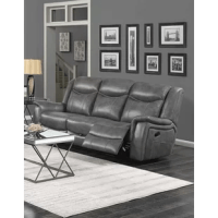 Part of this motion sofa collection upholstery gray padded breathable leatherette. Dual reclining sofa and loveseat. Manual and power recline options. Wall hugger mechanism. Switch panel with USB on power options. The sofa features a drop-down table with two cup holders, pop-up power outlet (2AC/2USB), and a storage drawer. 2.0lbs high resilience foam cushions.