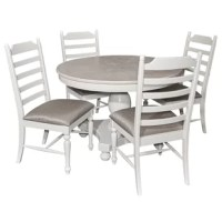 An updated classic, the Cuyuna white washed round dining set is designed for today's homes. The round pedestal table has a thick turned base and bun feet. The tabletop is a white wash over a basswood veneer for a light and airy look and the base and chairs are painted white. The tall ladder back chairs and turned legs with stretchers are made to complement the table. The upholstered seats have a 100% polyester fabric in a neutral color with a slight sheen to sit comfortable and fit in with your...