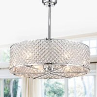 Both outer and inner latticed shades are embedded with brilliant diamond-cut octagonal crystals. This product for great illumination. Height is adjustable between 2 select-able down rod lengths. Scoop style fan blades move air with great efficiency. 6 Fan speeds ensure you can choose just the right amount of breeze for your comfort. Solid metal construction and great detail work. A fantastic find.