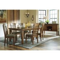 Dreaming of an expansive table that everyone will feel comfortable around? Let this butterfly extension table serve it up. In an inviting style, its natural grain character is highlighted by a casual brown finish. Its attractive double stacked top is generously scaled, which allows for elbow room around the table. When expecting guests, the table can easily be extended to fit eight. Chairs sold separately.