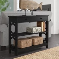 This console table showcases an open design and two lower shelves to provide the perfect spot to display your collectibles or to store large objects. Its clean-lined design and 31.5'' H x 39.5'' L x 12'' D rectangular shape makes it an ideal option for your foyer, hallway, or sitting room. Crafted from solid and manufactured wood, it showcases a neutral finish which allows it to blend in with a variety of color palettes.