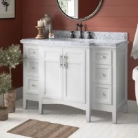 Traditional charm meets contemporary flair with this vanity base. The single vanity set is crafted of solid birch wood, with an undermount rectangular ceramic sinks. It features one cabinet, and six drawers for plenty of concealed storage of crisp towels, cleaning supplies, and more. This vanity base is compatible with an 8