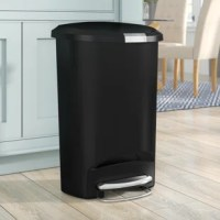 Keep the trash away and your rooms clean with the simple human 50 L / 13 Gal, Semi-Round Step Trash Can. The semi-round trash can has a flat back that allows it to be placed against a wall. It is made from polypropylene that makes it sturdy and long-lasting. It is leak-proof and keeps the area neat and tidy. There are a secure slide lock and a strong steel pedal for great functionality. Its step-on foot and lid work on Shox technology for a smooth and silent close. This 13 Gallon Step on Trash...