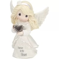 Sharing the sincere truth, this beautiful angel holds a simple silver-toned heart as a reassuring reminder that their loved ones will always live on in their hearts. Comforts friends and family members with faith, hope, and love. Send this thoughtful sympathy gift to friends, family members, and coworkers who have lost someone special. This sweet figurine is meticulously sculpted of fine bisque porcelain and metal and expertly hand-painted.