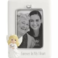 Sharing the sincere truth, this beautiful picture frame features a graceful angel and a reassuring reminder that they loved ones will always live on in their hearts. Comforts friends and family members with faith, hope, and love. Honors the ones they have lost in a beautiful way. Send this thoughtful sympathy gift to friends, family members, and coworkers who have experienced the loss of someone they love.