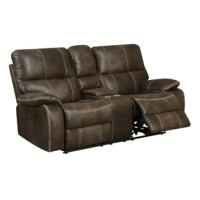 This Reclining Loveseat offers luxury and style with ultimate comfort and convenience. The rich faux leather is contrasted with luggage stitching creating an eye-catching detail. The well-positioned recline feature and USB outlet blend in nicely, offering modern amenities within a traditional design. You can have comfort without sacrificing style with this collection.