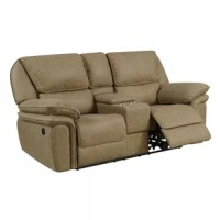 This upholstery collection offers comfortable luxury in your living room. Convenience is at hand with well-positioned recline options and USB outlets. The smooth, oversized cushions elevate the comfort of this motion collection, and the faux leather is detailed with luggage stitching. This recliner has a sophisticated look and a soft, supple feel that is sure to make your living room the place to be.
