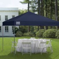The 10 x 10 ft. straight leg Expedition canopy from Quik Shade provides up to 100 sq. ft. of shade. The perfect canopy for your next outdoor event, this unit offers three height positions and hardened thru-bolt assembly for a sturdy canopy unit. Patented overlapping eaves offer stability and the 150D polyester top with Aluminex gives you 99% UV protection. Set it up where you need shade at your next event, farmers market, sports event, and much more.