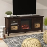 Crafted of manufactured wood with rustic laminate veneers, this 58